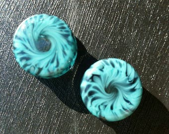 """Turquoise and black swirl Double Flare Glass Ear Plugs. Size 1/2""""-9/16"""""""