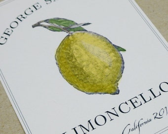 Customized Limoncello or Lemoncello Labels or Tags, set of 18