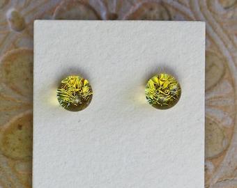 Dichroic Glass Earrings, Sun Yellow  DGE-1402