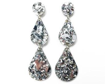 Silver glitter raindrop earrings, silver earrings, laser cut earrings, silver glitter earrings, geometric earrings