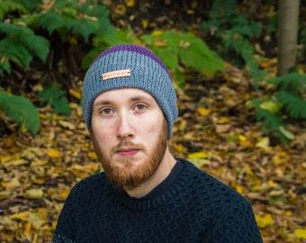 Merino wool hand knit hat, purple and grey hat, autumn hat, knitted beanie, hand knit wool hat, winter hat, woolly beanie, Fernweh UK