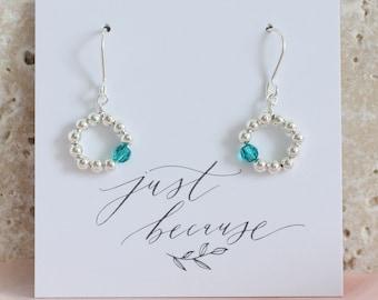 Birthstone earrings / eternity earrings / circle earrings / gift for friend / birthday gift / anniversary gift