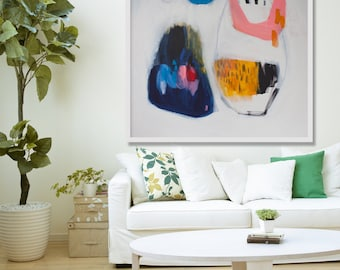 """Large ABSTRACT PRINT, giclée print of white, blue, pink,painting, modern print  """"Gorget"""""""