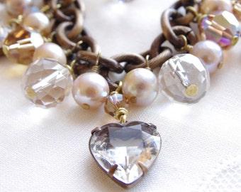 Charm Bracelet Gemstone Pearl Bracelet Swarovski Crystal Glass Heart Rock Quartz Crystal Freshwater Pearl Brass Bronze Heart Jewelry