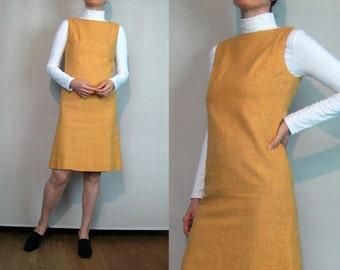 60s ORANGE WOOL Mini Shift Dress Vintage 1960s Golden Orange Woven Wool Dress Orange Wool Mini Dress Wool Shift Dress 1960s Wool Shift Dress