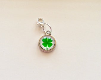 Lucky four leaf clover probress keeper, stitch marker or zip pull