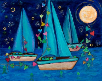 Print Boats and Love Abundant Journey on 5x7 Canvas Paper by Elizabeth Claire