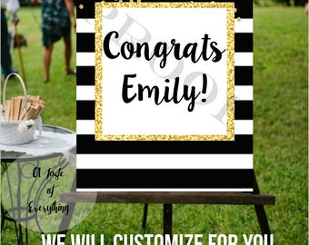 Congrats printable sign Class of 2017 Grad graduation, Party decor, signage, high school, college, bachelors, masters, signage, black, white