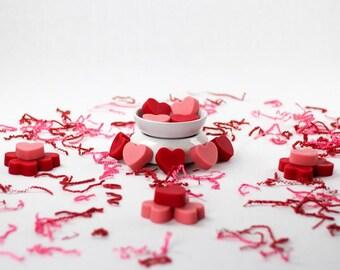 Heart shaped wax melts, Wax melts, Wax tarts, Valentine's wax melts, Valentine's wax tarts, Flameless fragrance, Home fragrance,