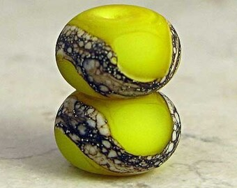Yellow Glass Lampwork Bead Pair  with Organic Silvered Ivory Web and Etched Frosted Finish 11x7mm Lemon Drops Velvet