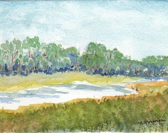 OOAK Original Watercolor - Cow Meadow