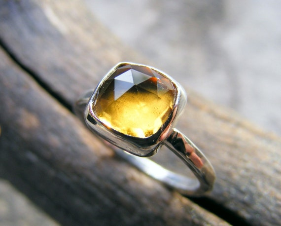 Citrine Sterling Silver Stacking Ring, Yellow Rose Cut Gemstone In A Cushion Square Cut, Available In Solid Gold Too!