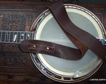 "Lakota Leathers 3"" Cradle Bison (buffalo) Leather Banjo Strap"