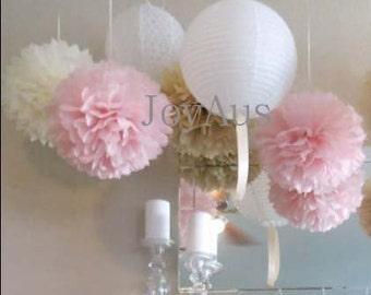 Pink Cream Pom Poms & White Paper Lanterns for Wedding Engagement Anniversary Birthday Party Bridal Baby Shower Decoration