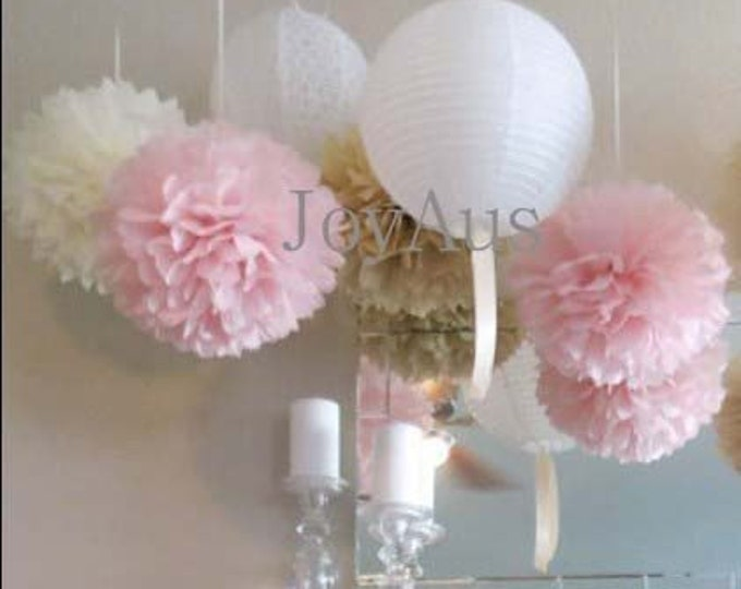 Featured listing image: Pink Cream Pom Poms & White Paper Lanterns for Wedding Engagement Anniversary Birthday Party Bridal Baby Shower Decoration