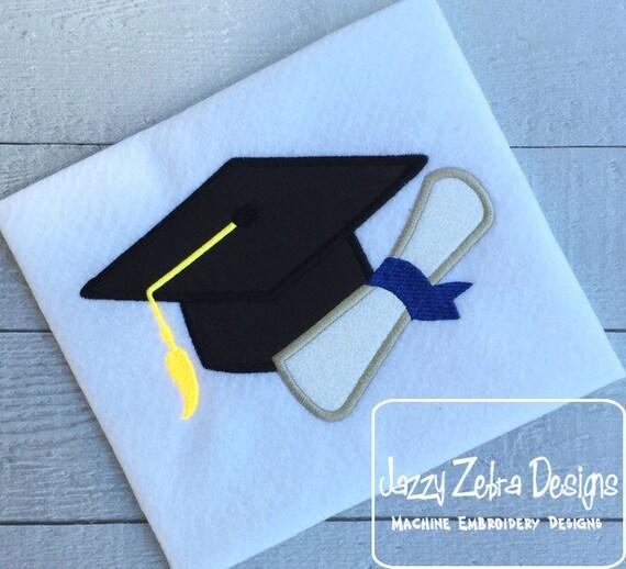 Graduation Hat with diploma Appliqué embroidery Design - Graduation Cap with diploma Appliqué embroidery Design - graduation appliqué design
