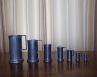 Vintage 7 Pewter Measuring Cups ,Mugs