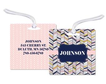 Luggage Bag Tag Bag Tag Family Luggage Tag Luggage Tag Luggage Bag Tag Chevron Bag Tag Wedding Bag Tag Personalized Bag Tag RyElle