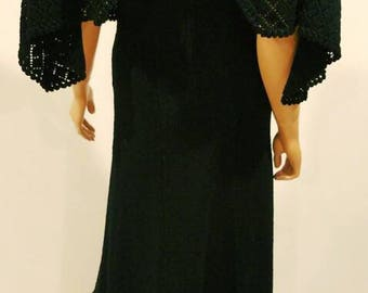 Vintage long hand-knit black dress with built-in cape