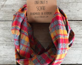 Infinity Scarf - Plaid - Flannel - Oversized - Red, Mustard & Gray - Warm - Winter- Cozy - Unisex - Gray