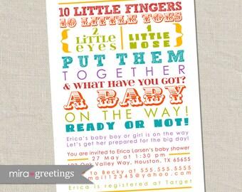 10 Little Fingers Rainbow Baby Shower Invitation - Printable Digital File