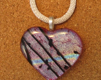 Red Dichroic Heart Pendant -  Fused Glass Jewelry - Dichroic Jewelry -Fused Glass Jewelry - Valentines Day - Mothers Day Gifts - Hearts
