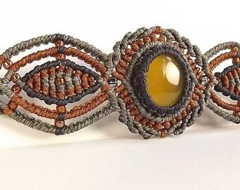 Macrame Bracelet, Yellow Onyx Bracelet, Yellow Chalcedony Bracelet, Autumn Bracelet, Grey, Brown, Golden Yellow