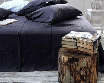 Nachtblauw linnen platte blad - linnen top vlakke blad - koningin, koning maten blad - 100% linnen bed blad