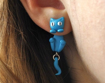 Turquoise Cat Earrings - Gifts for her