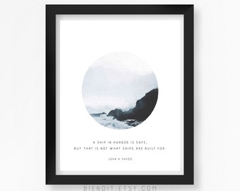 Ship in Harbor, Literary Quote, John A Shedd, Quote Print, Typography Print, Seascape, Inspirational Quote, Minimalist Art
