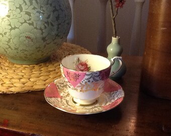 Vintage Paragon Teacup and Saucer With Pink Roses Pink and gold Accents