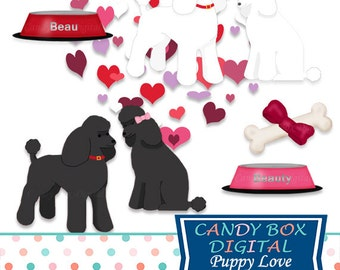 Valentine Poodle Clipart, Puppy Dog Clip Art - Commercial Use OK