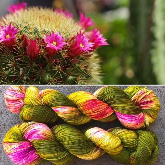 Flowering Cactus, indie dyed merino nylon sock yarn