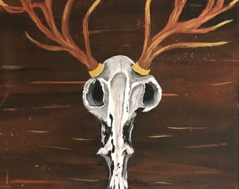 Stag antler skull,painting