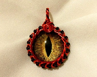Gold Hand-Painted Dragon Eye Pendant w/Red and Black Wire Wrap (with Necklace)