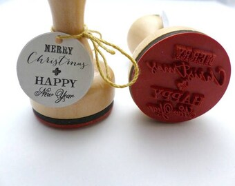 Stamp Merry Christmas Happy New Year
