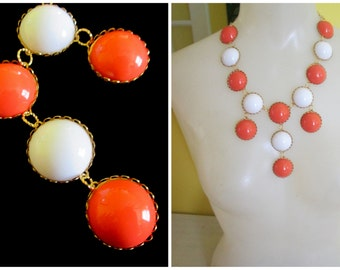 Tiered Coral and White Bubble Necklace