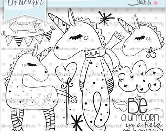 Unicorn Stamps, Be a Unicorn in a Field of Horses, COMMERCIAL USE, Fairy Tale Stamp, Digital Stamp, Line Art, Unicorn Hand Drawn, Sketch