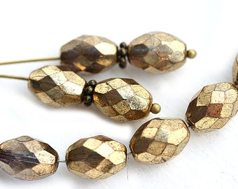 Golden olive shaped czech glass beads, gold fire polished oval beads, 11x7mm - 6Pc - 3012