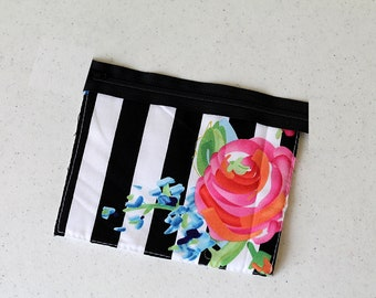 rose change purse, mini zipper pouch earbud pouch, business card id holder, small floral, coin purse, cosmetic chapstick striped black white