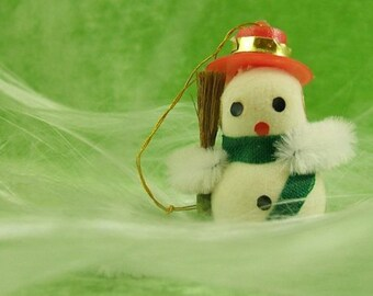 Vintage Flocked Snowman ornament with Little Red Hat and Straw Broom