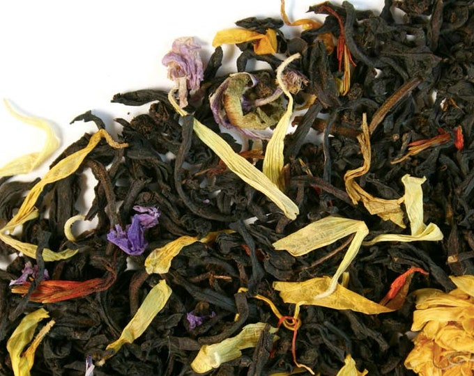 Tropical Golden Dawn Tea | Tropical Mango and Passion Fruit Black Tea Blend | Robust and Savory Hand Blended Tea - 2 oz