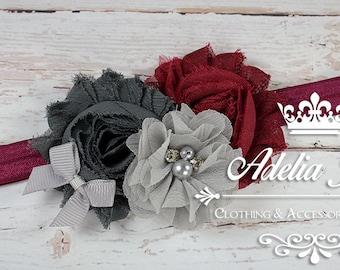 Burgundy Baby Headband, Grey Baby Headband, Flower Baby Headband, Infant Newborn, Chiffon Shabby Flower Headband, Newborn Baby Headband