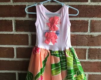 Pouli Peach Moon Dress/ Hawaiian Dress/ Baby Girl Dress