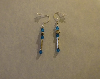 Petite Blue Beads with Antique-silver Long and Flower Beads (E7)