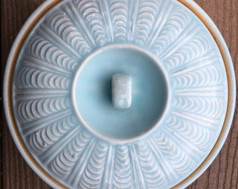 Vintage Blue Pottery Bowl with Lid