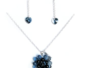 Midnight Blueberry Necklace & Crystal Earrings - Dark Blue Jewelry gift set, Statement Necklace, Swarovski Earrings, Berry necklace