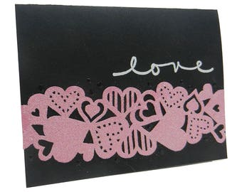 Love Glittered Hearts Valentine's Day Card Paper Handmade Card greeting Cards Valentine Love Card Valentines Day Card Love Cards Valentines