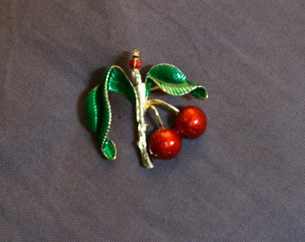 Cherry pinup 50s flower brooch