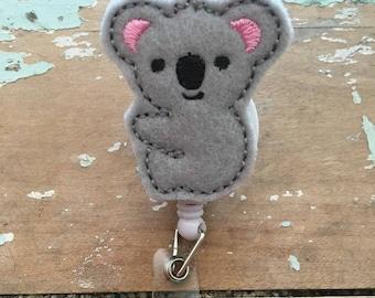Koala bear ID badge reel holder retractable clip